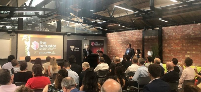 Photo of Victorian Minister for Jobs, Trade, Innovation, Sport, Tourism, Major Events & Racing Hon. Martin Pakula MP opening The MedTech Actuator's 2019 Showcase in Melbourne.