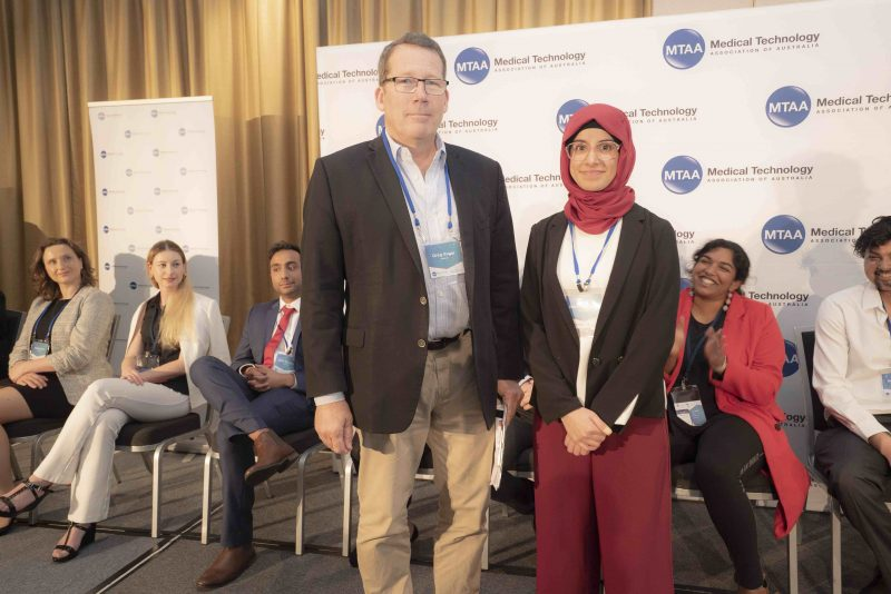 Photo of Aaya Hakeem from Genuflex and new mentor, Greg Roger from Vestech at MedTech's Got Talent Challenge Rapid Fire Rounds, Sydney 2019.