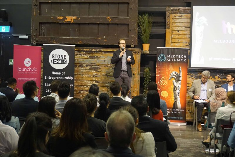 Photo of CPAP Buddy founder, Andrew Marshall pitching at the MedTech's Got Talent Rapid Fire Rounds 2019.