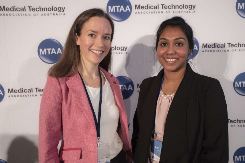 Photo of Lactomo founder, Etta Watts-Russell with her new mentor, Ann Damien from Cook Medical at Sydney Rapid Fire Rounds, 2019.