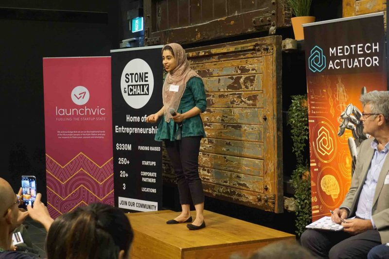Photo of Maryam Soomro, Founder of Injectra delivering her pitch at the Melbourne Rapid Fire Rounds, 2019.