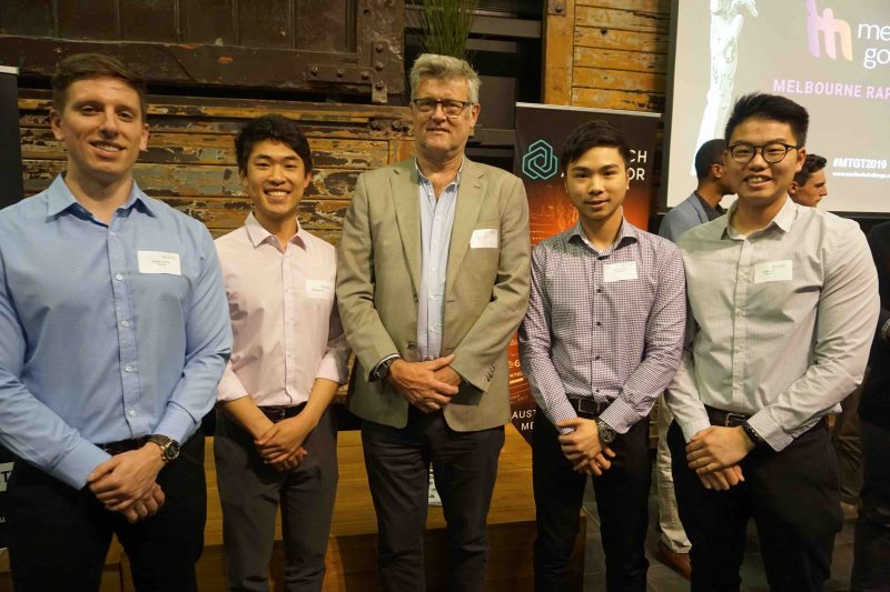 Photo of the Rescuent team with new mentor - Rod Wiebenga from D+I - at the MedTech's Got Talent Challenge Rapid Fire Rounds in Melbourne 2019.