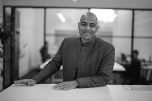 Black and white photo of Vishaal Kishore, MedTech Actuator.