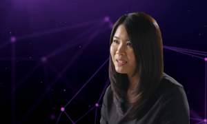 Photo of Cailin Ng, HiCura Medical CEO on purple abstract background.