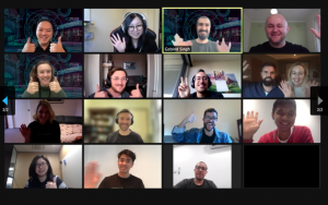 Screenshot of a Zoom call featuring MedTech Actuator cohort six and staff, 2021.
