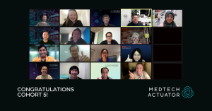 Zoom photo of MedTech Actuator cohort 5 and team, October 2021.